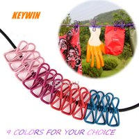 Wholesale family clips - Travel Portable Telescopic Windproof Elastic Multifunctional 12 Clips Underwear Socks Hangers Clothes Hanging Line Rope 9 Colors Free