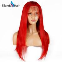 hızlı nakliye boyası toptan satış-Silanda Saç Hızlı Teslimat Öncesi Boyalı Kırmızı İpeksi Düz Brezilyalı Remy Tam Dantel İnsan Saç Peruk Ücretsiz Kargo