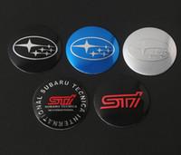 ingrosso emblemi per i tappi del centro ruota-Diametro 56.5mm Alluminio Ruote Pneumatici Centro Hub Caps Copertura Sticker Distintivo dell'emblema per Subaru Cars 4 Pz / set