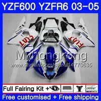 kit de corpo yamaha r6 branco venda por atacado-Corpo Para YAMAHA YZF600 quadro azul branco YZF R6 03 04 05 YZFR6 03 Carroçaria 228HM.17 YZF 600 R 6 YZF-600 YZF-R6 2003 2004 2005 Carcaça