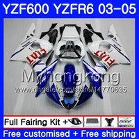 yamaha r6 körper kit weiß großhandel-Karosserie Für YAMAHA YZF600 weiß blauer Rahmen YZF R6 03 04 05 YZFR6 03 Karosserie 228HM.17 YZF 600 R 6 YZF-600 YZF-R6 2003 2004 Verkleidungssatz
