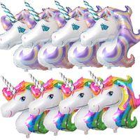 suministros para globos al por mayor-Supershape arco iris unicornio cabeza globo globo cumpleaños fiesta de cumpleaños decoración gran arco iris globos unicornio suministros para fiestas