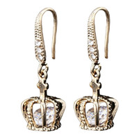 Wholesale wild pearl - 2018 New Arrival Korean Version Of The gold crystal Crown Micro Drop Earrings Personality Wild Fashion Female Earrings