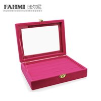 exibição do anel rosa venda por atacado-FAHMI Original Anel Transparente Rosa Charme Display Box Jóias Presente Da Proteção Moda Simples Requintado Caixa De Exibição De Fábrica
