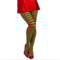 vestidos de joelho apertados venda por atacado-Loja de Jessica Elf Calças Justas Listrado Vermelho Verde Natal Fancy Dress Costume Knee Stockings