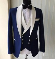 görüntüler smokin takımları toptan satış-Gerçek Görüntüler 3 Parça Mavi Erkekler Düğün Takımları 2018 Tasarım Groomsmen Beyaz Şal Yaka Damat Smokin En Iyi Erkek Smokin Düğün / Balo Suits