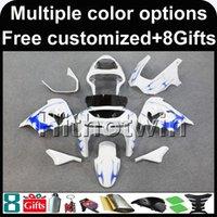 mavi 1998 zx9r toptan satış-23 renkler + 8 Çiftler ABS mavi alevler + beyaz Kawasaki ZX-9R 1998-1999 ZX9R 98 Için motosiklet kukuleta 99 99 Motosiklet plastik kaporta