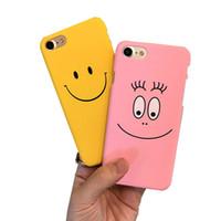 lindos casos de pareja para iphone al por mayor-Funny Smile Faces para el iphone 7 7 más caso para iphone5 5s 6 6 s 6 plus contraportada Cute Cartoon Smile Couples cajas del teléfono Capa Coque