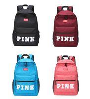 Wholesale kids fashion shoulder bags - PINK Letter Backpacks 4 Colors Student Fashion Large Travel Backpack Girls Casual Fabric Shoulder Bags Kids Backpack Bags OOA5083