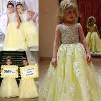 Wholesale glitz wedding dresses for sale - Group buy 2018 Glitz Daffodil A Line Girls Pageant Dresses Scoop Crystal Applique Lace Sequin Tulle Girls First Communion Wears For Wedding Flower