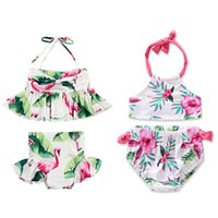 Wholesale cute baby swimwear - Summer Girls Bikini Swimsuit Flamingo Floral Cute Two-piece Bathing Suit Kid Baby Girl Tankini Bikini Swimwear Swimsuit 1-6T