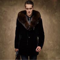 hommes cheveux moyens achat en gros de-Vêtements pour hommes, fourrure et cuir, longueur moyenne pour hommes, fourrure épaissie, grand collier pour cheveux, manteau à capuche, grande taille.