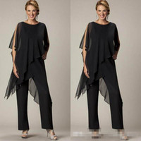 Wholesale breast wrap - Newest Mother of the Bride Pant Sutis Black Chiffon Bateau Neck Asymmetrical Wrap Style Modest Mother's Suit for Weddings Custom Made