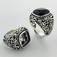 ingrosso anelli in argento 925 nero onice-Argento naturale nero onice pietra ovale solido argento 925 anelli uomini larga banda reale argento 925 gioielli regali mens thai cool