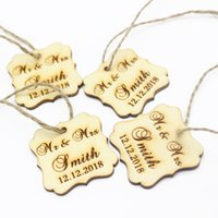 Wholesale personalized birthday gifts - 50pcs 40x40mm Personalized Engraved Wooden Gifts Tags Custom Love Square Tags Wedding Party Gifts Birthday Decoration Favors