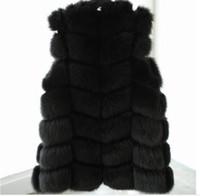 chaleco de piel de punto negro al por mayor-Blanco / Negro conejo invierno de las mujeres de punto Fox chaleco de piel de conejo más el tamaño natural real del abrigo de pieles chaquetas largas Colete