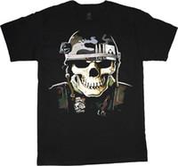 exército de usmc venda por atacado-T-shirt decalque do crânio militar para homens exército capacete usmc marine corps tee 2018 de manga curta, o-pescoço 100% algodão, impressão Mens verão,