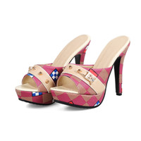 çiçek baskısı ayakkabıları kadınlar toptan satış-Kadın FLoral Baskılı Deri Yüksek Topuklu Terlik Kadın Ayakkabı Yaz Açık Ağızlı Ayakkabı