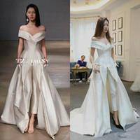 zuhair murad braut muslim großhandel-2018 Off-Schulter Garment Hochzeit Overall mit Schleifen Nach Maß Vestidos Festa Damenmode Braut Brautkleid Zuhair