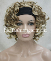 Wholesale curly wigs headbands resale online - Women Short Curly Ladies half wig headband Cosplay wigs Brown Blonde red