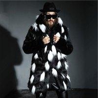 mens parka hood toptan satış-S-4XL Kış Erkek Kürk Palto Erkek Kürk Palto Hood ile Parka erkek Hoodies Palto Adam Sıcak Faux Ceket Elbise Boy