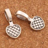 jóias pingente fianças venda por atacado-200 pçs / lote Coração Grids Beads Pingente Cabide Charme Beads 20.2x9.9mm Pingentes de Prata Antigo Jóias DIY L714 LZsilver