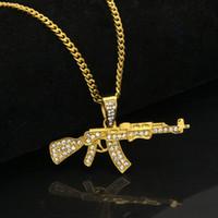 Wholesale gun heart pendant resale online - Alloy AK47 Gun Pendant Necklace Iced Out Rhinestone With Hip Hop Miami Cuban Chain Gold Silver Color Men Women Jewelry