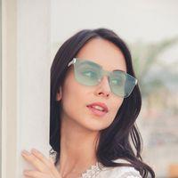 lunettes de soleil de célébrité achat en gros de-lunettes de soleil surdimensionnées sans cadre marque designer lunettes de soleil en métal teintées dans la mode dames célébrité grandes lunettes de soleil carrées