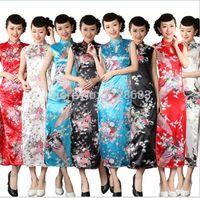 azul blanco qipao al por mayor-Alta calidad azul blanco negro rojo chino tradicional vestido largo Qipao patrón tradicional cheongsam Qipao