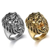 ingrosso anello di leone di 316l-Handsome Punk Acciaio Inossidabile 316L due colori Anello dorato e nero Big Lion Head Anello Cool Men Animal Ring