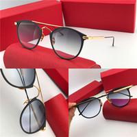 nuevas gafas de sol populares al por mayor-Nuevo diseñador de moda gafas de sol retro marco popular vintage uv400 lente protección de calidad superior ojo estilo clásico 0015