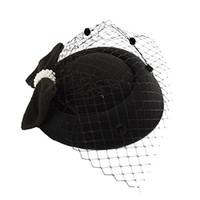 дозатор оптовых-Чародей шляпы для больших девочек зима вышитые вуаль хлопок войлок дот шляпы для официальных коктейль свадебные шляпы платье Федоры A01358