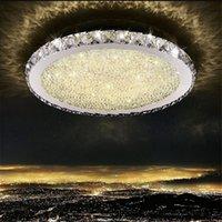 luzes de cristal rodada venda por atacado-Modern K9 de Cristal LEVOU Montagem Subida de aço inoxidável lustre Luzes de Teto Luminárias para Casa de Teto redondo para Sala de estar Quarto
