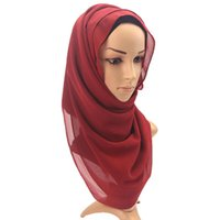 Wholesale high hair women online - New Designer Muslim Woman Cover Shawls Pure Colour Nation Pearl Chiffon Bubble Towel Blanket Soft Sun Shading High Quality pw aa