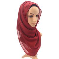 ingrosso colori perle femminili-Nuovo design donna musulmana copertura scialli puro colore nazione perla chiffon bolla asciugamano coperta morbido sole ombreggiatura di alta qualità 8 5pw aa