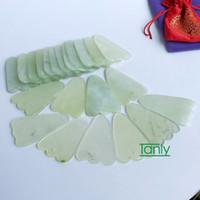 Wholesale Gua Sha Massage Board - Good quality! WholesaleTraditional Acupuncture Massage Tool triangle Gua sha Board Natural Jade 12pcs lot