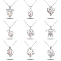 Wholesale gold chain designs for women online - White Gold Plated Clavicular Chain With Imitation Pearl Wish Jewelry Pendants Hollowed Out Design Necklace For Women xb ff