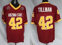 eski kaplar toptan satış-Erkek Arizona State Güneş Devis 42 Pat Tillman Koleji Futbol Formalar Maroon ASU Pat Tillman Vintage Futbol Gömlek 1997 Gül Kase Yama