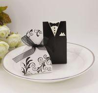 süßigkeiten box bevorzugungskleider großhandel-Hochzeit Gunsten Pralinenschachtel Braut und Bräutigam Tuxedo Kleid Kleid Ribbon Wedding Favor Pralinenschachtel Hochzeit Party Decor