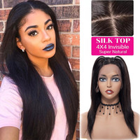 Wholesale silk base human hair wigs online - Brazilian Straight Lace Front Wigs Adjustable Pre Plucked Silk Base Lace Frontal Human Hair Wigs Glueless Wigs For Black Women
