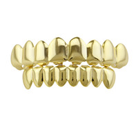 Wholesale fake teeth - Plain Teeth Grillz Gold Rose Gold Silver Color 6 Top and Bottom Teeth Grills Set Metal Fake Tooth Jewelry Teeth Hip Hop Grills