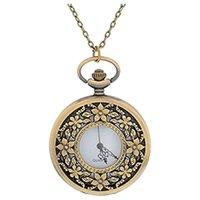 enlaces de bronce flor al por mayor-Reloj de bolsillo redondo de color bronce antiguo para mujer Flor hueca grabada con cadena de enlace de 80 cm