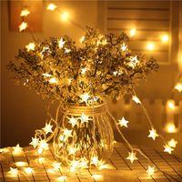 neujahrsblume großhandel-6M 40 LED Stern Blume Hochzeit Garland New Year String Licht Weihnachtsschmuck für Home Geburtstag Neujahr Produkte