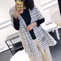Wholesale match boxes online - TOP luxury Women designer scarf Autumn and winter shawl Scarf Rabbit velvet fabric Black and white color matching BOX cm