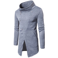 Wholesale Stick Breast - Hooded Sweater Cardigan Long Stick Men's Fashion Sweater Coat Inclined Buckle Outerwear Jacket