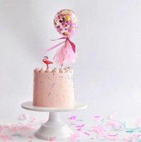 Wholesale Rainbow Birthday Cakes - Rainbow Confetti Ballons Cake Topper Celebration Wedding Party Decoration Birthday Baby Shower Cupcake Topper Kit table decor 5inch
