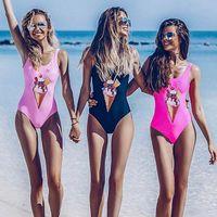 Wholesale cartoon sexy - One Piece Swimsuit 2018 New Sexy Cartoon Swimwear Women Swimsuit Push Up Bathing Suits Beach Wear Swim Halter Backless Monokini
