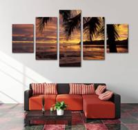 peintures de plage au coucher du soleil achat en gros de-Sans cadre Images modernes Mur Art No Frame 5 Pièces Décor À La Maison Toile Peinture Plage Au Coucher Du Soleil Paysage Mur Décoratif Planet Peintures