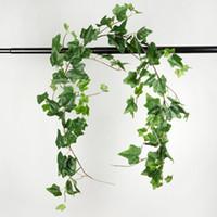 ingrosso artificiali foglie verdi artigianali-170cm Ghirlande artificiali - Vine di fiori finti Vite verde Foglie di vite per Home Hotel Office Wedding Party Garden Art Decor