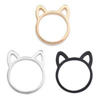 paar ring katze großhandel-Neue Stil Paar Schmuck Silber / Schwarz / Gold Farbe Ring Nette Katze Ohr Ringe Für Frauen Großhandel